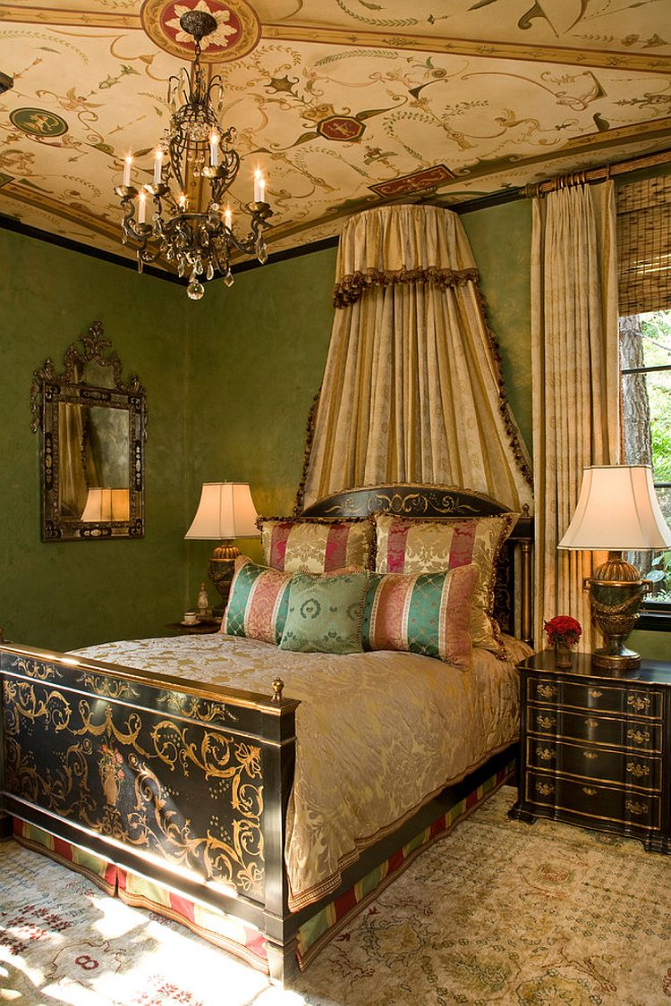Hand-painted bedroom ceiling with lovely decorative motif [Design: Kathryne Designs]