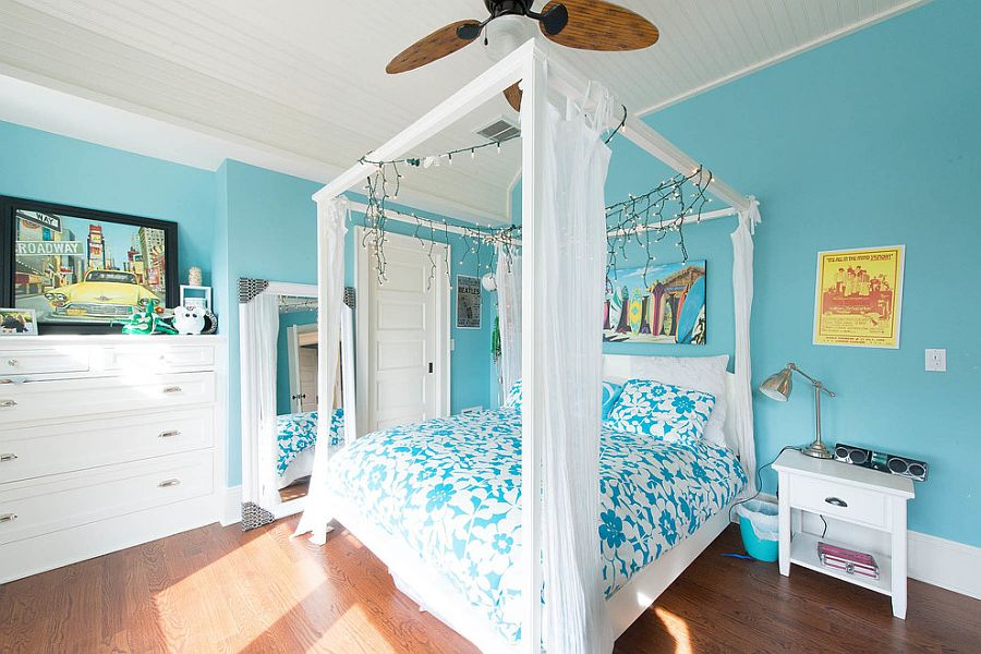 Holiday sparkle lives on beyond Christmas inside this tropical bedroom [Design: CMM Construction]