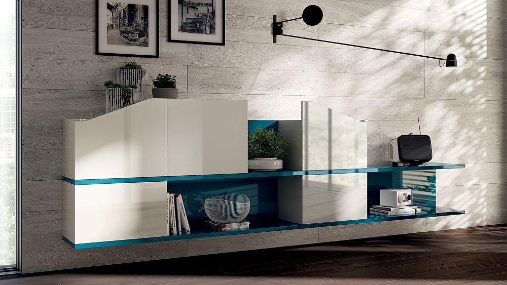 Living room shelves in Alaska Blue and white