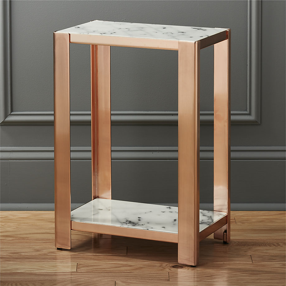 Marble and rose gold side table from CB2
