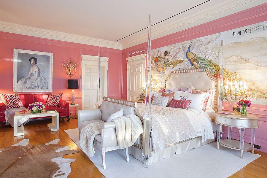 Opulent Victorian bedroom in pink [Design: Woodson & Rummerfield's House of Design]
