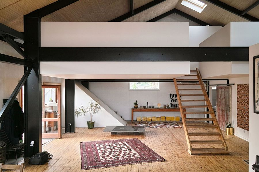 Reused design elements and and salvaged pieces shape much of the sweeping interior