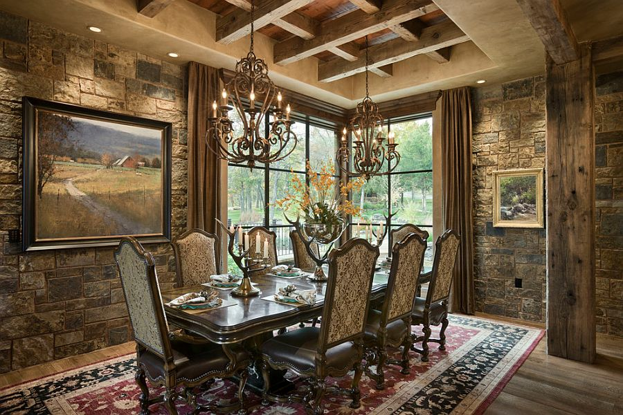 Rustic dining room with gorgeous stone walls and classy rug