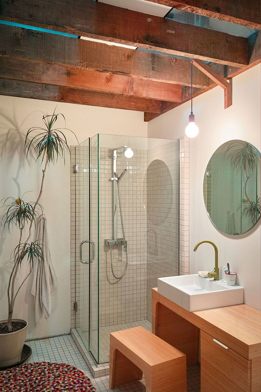 Small corner shower area with a potted plant next to it