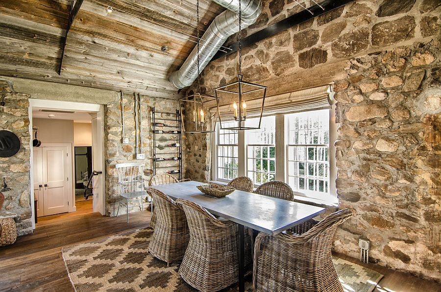 Stone wall dining room with cottage charm
