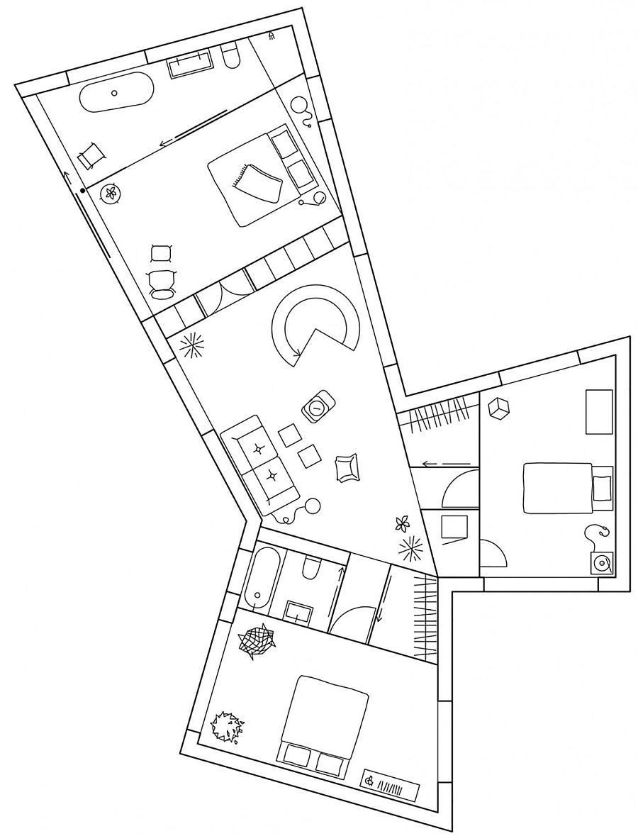 Top floor layout of the house in Molle