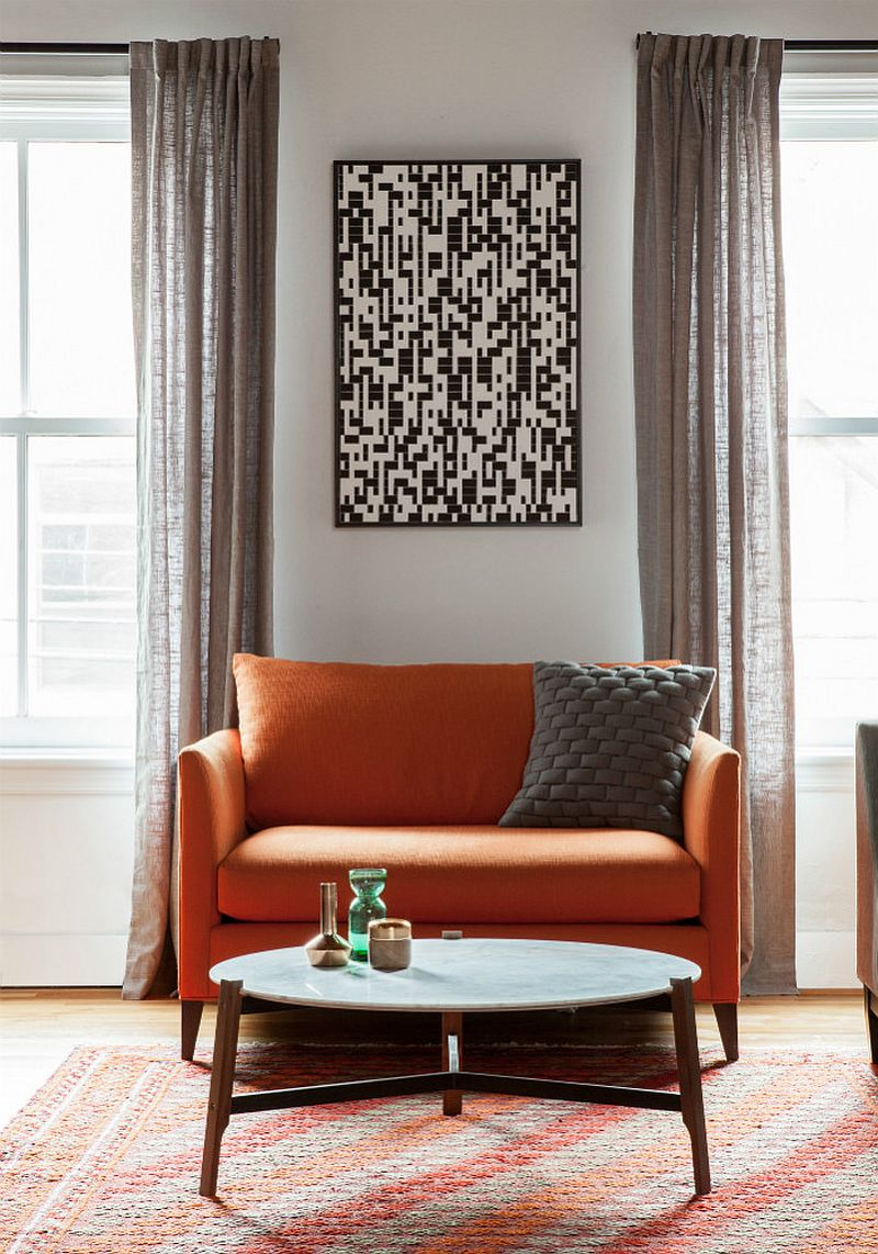 A splash of orange and Marble goodness for the Jersey City loft apartment