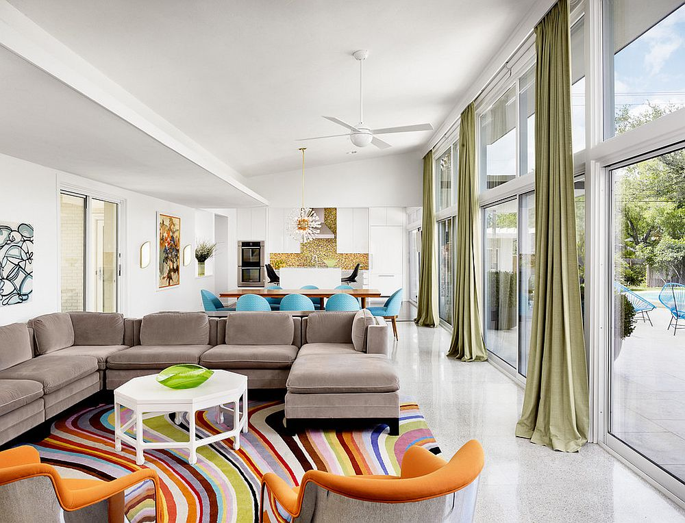 Add fun accents to create a colorful, open living space