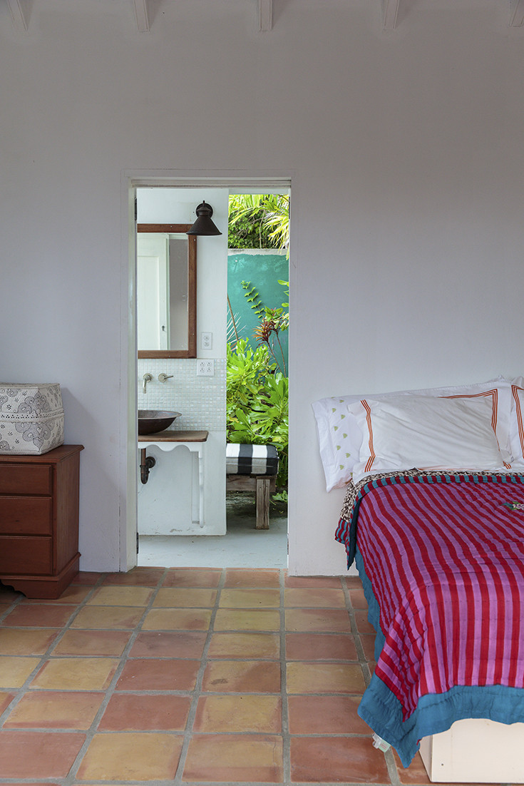 Bedroom with a tropical view