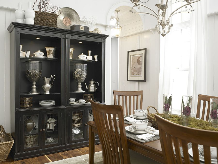 Black hutch is the showstopper in this white, eclectic kitchen [Design: Laura Hardin]