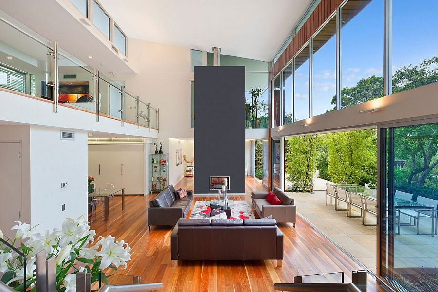 Breezy contemporary double-height living area