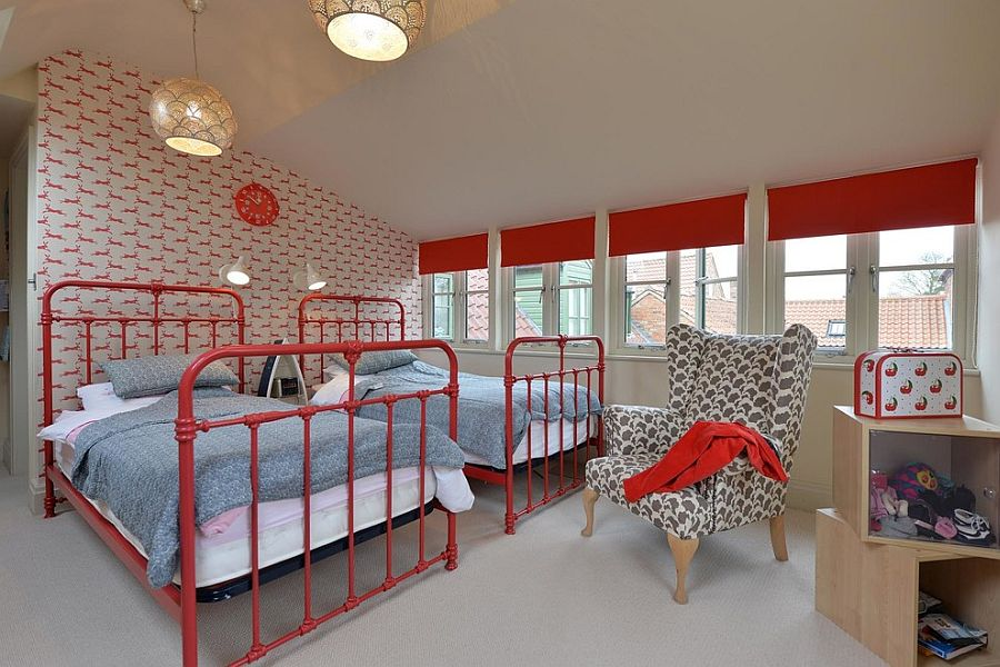 Custom decor and wallpaper usher in a cheerful vibe