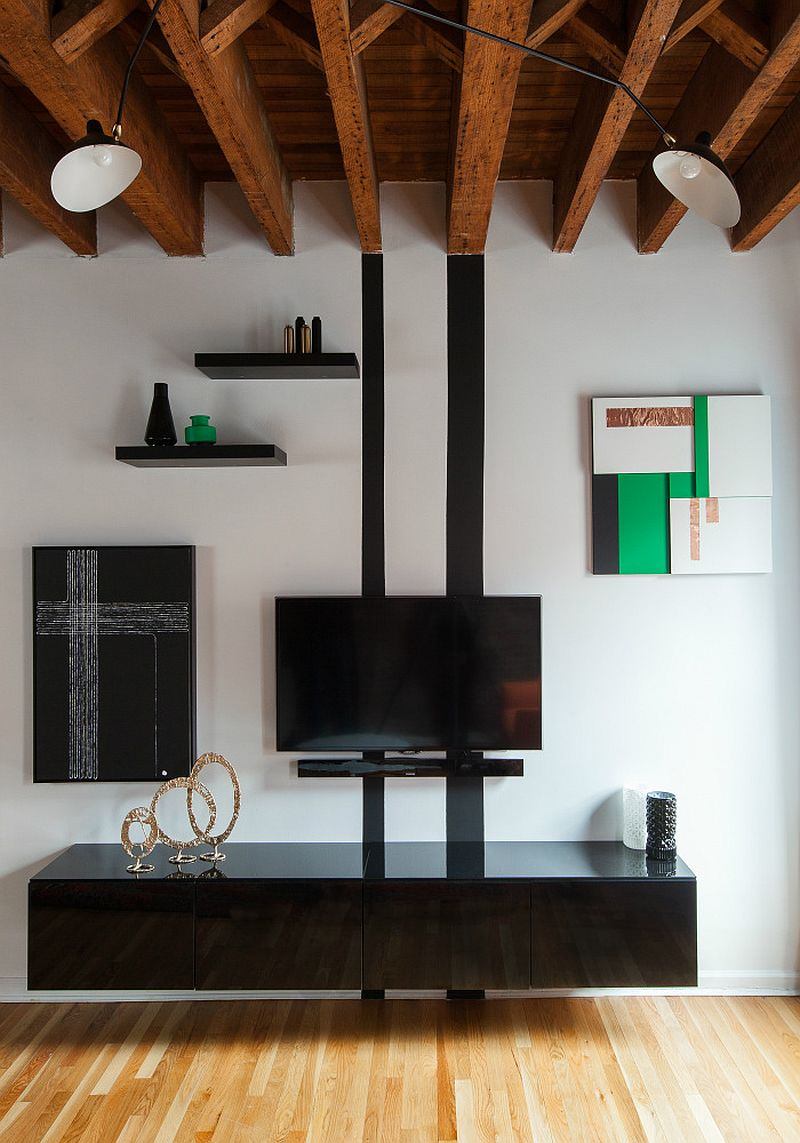 Custom living space wall mounted TV and cabinet