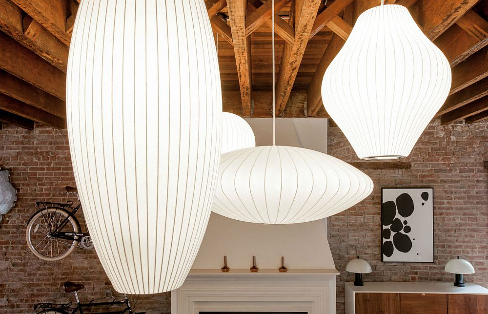 Goregous George Nelson's pendants in the loft apartment in Jersey City