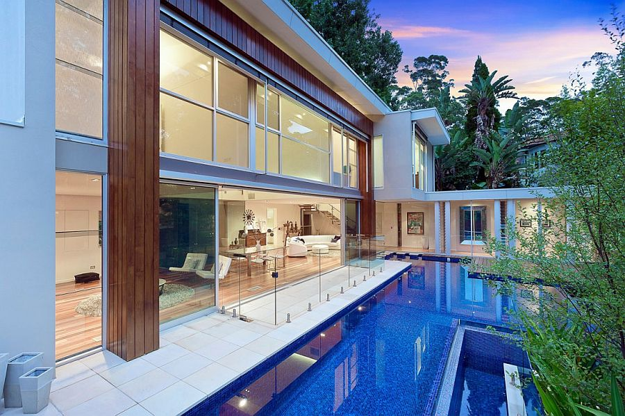 Large and meandering swimming pool of the Aussie home