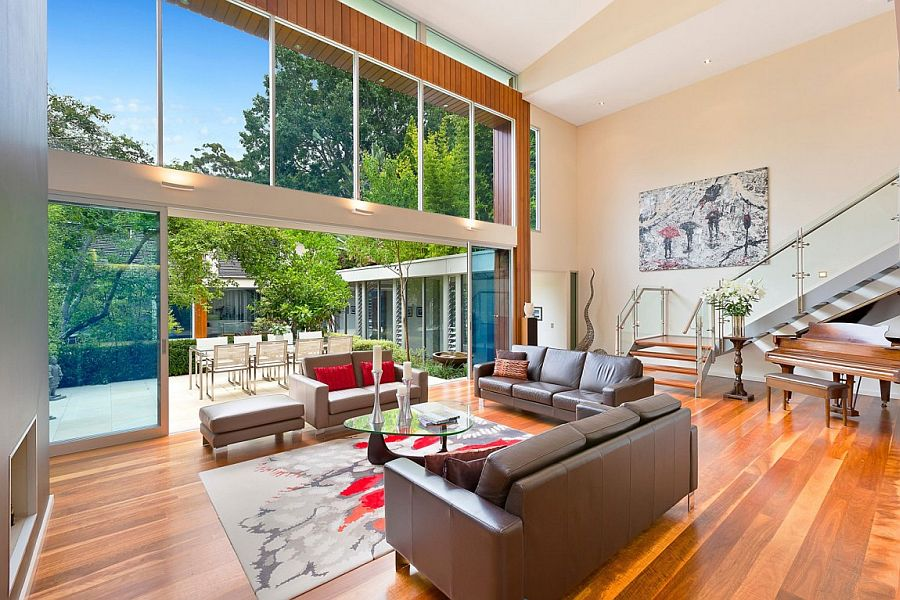 Lower level living area and kitchen of the stylish Sydney home