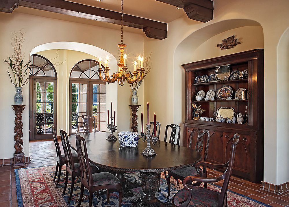 Mediterranean dining room has a custom nook for the hutch [Design: Cornerstone Architects]