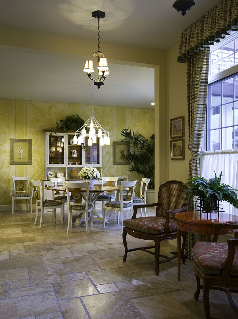 Mediterranean dining room with splash of yellow [Design: Lawrence Architecture]