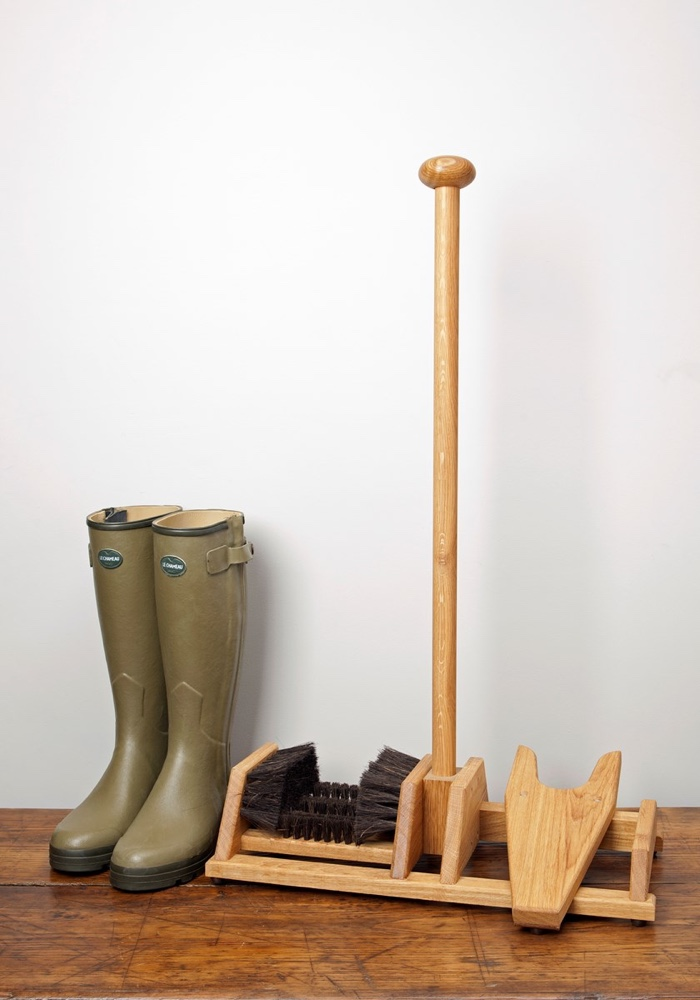 Oak Foot Scraper and Boot Jack
