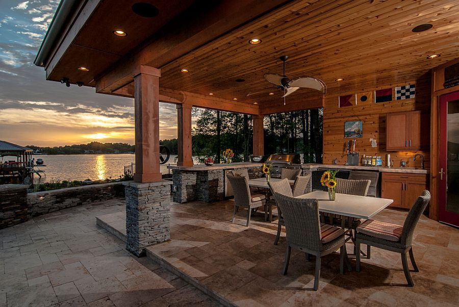 Outdoor barebeque bar and dining zone at the relaxing cabana