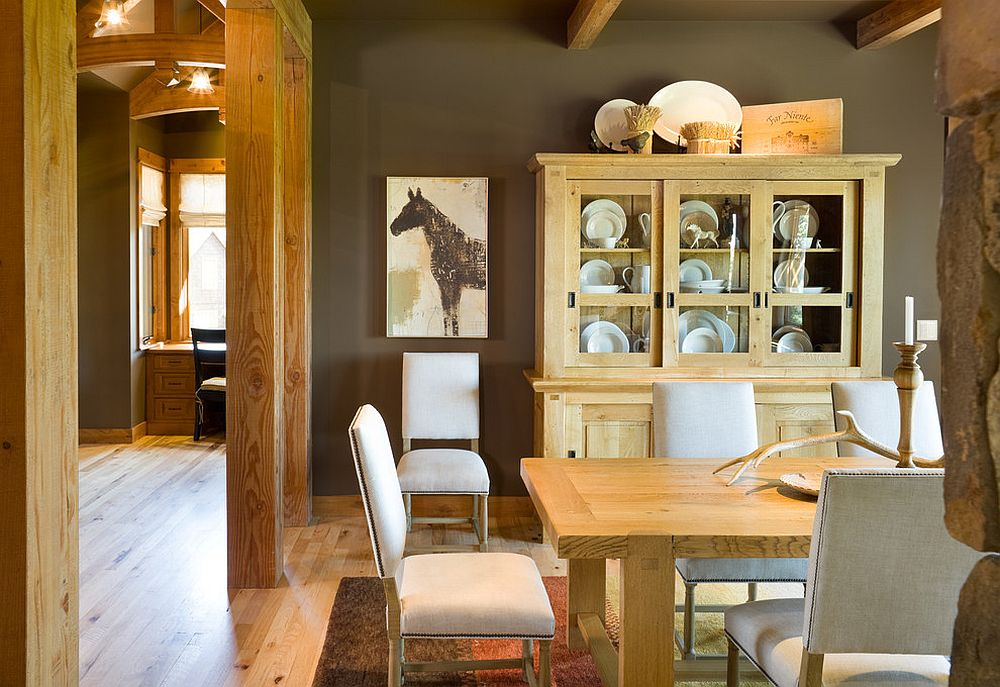 Rustic dining room with a fabulous china hutch that complements its style perfectly [Design: Alan Mascord Design Associates]