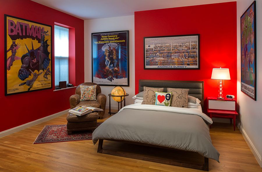 Superhero bedroom with framed posters is perfect for kids and teens