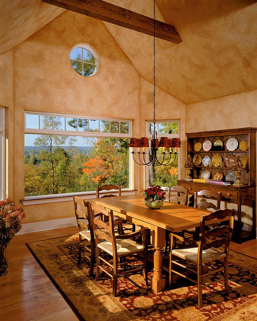 Textured walls for spacious dining room with warm hues [Design: Witt Construction]