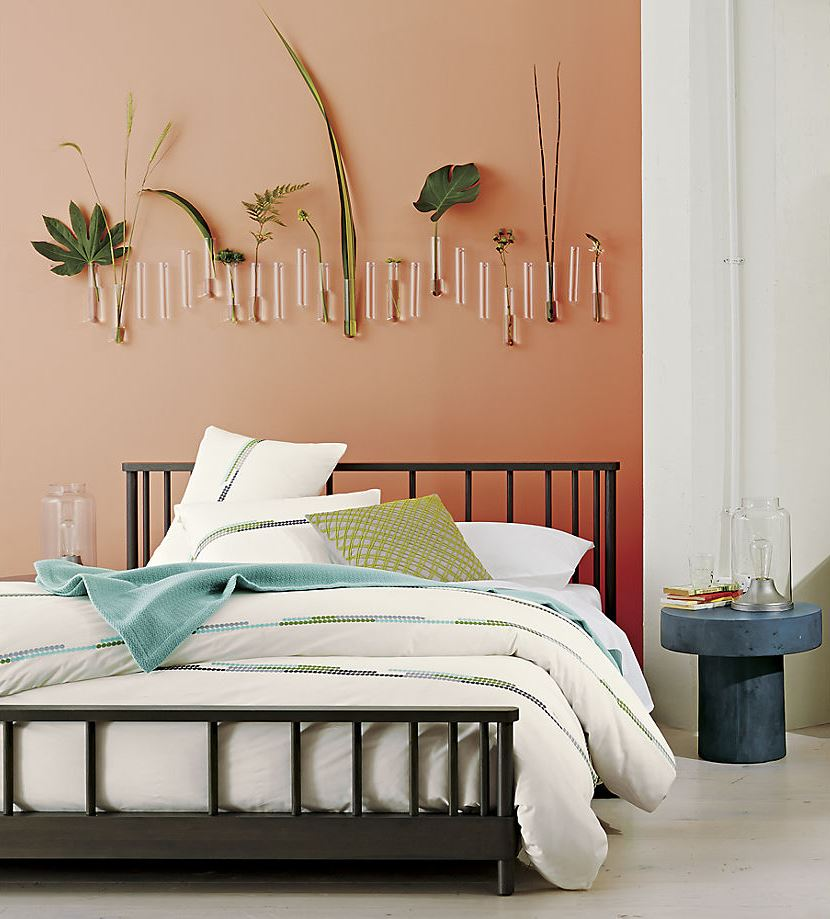 Tropical plants in a bedroom from CB2
