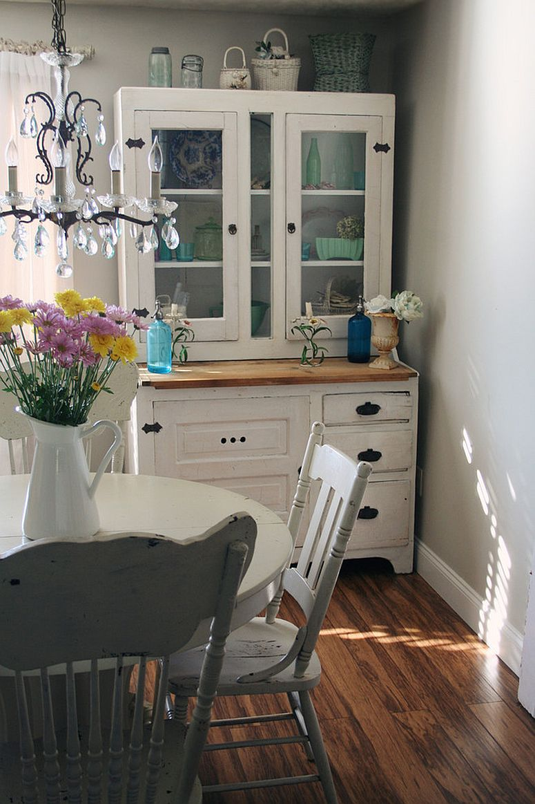 Vintage hutch is an absolute space-saver in the small shabby chic style dining room [From: Heather Kowalski]