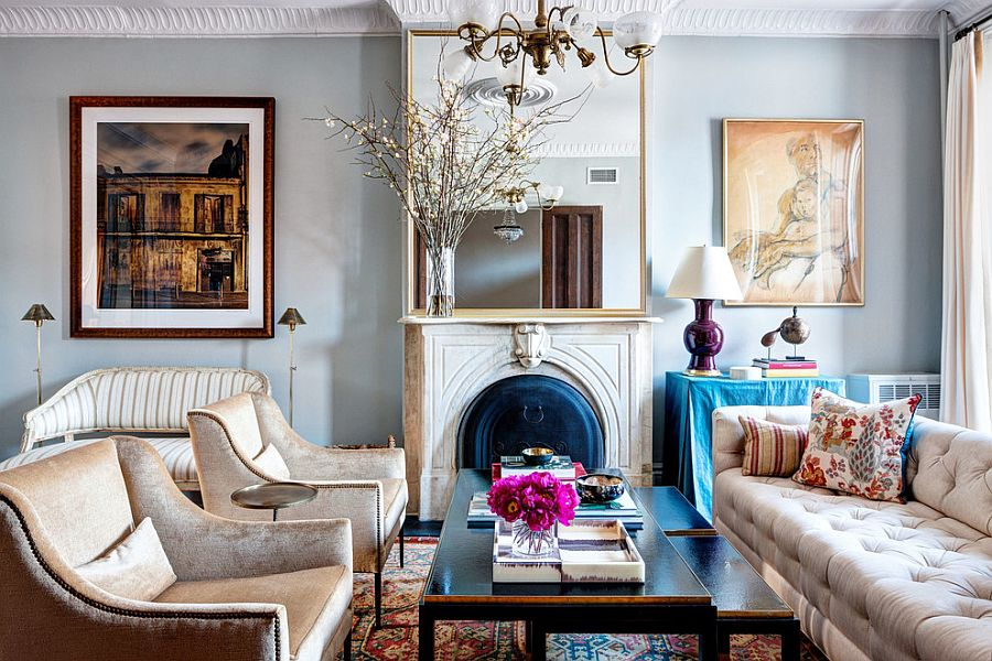 Antique pieces coupled with contemporary decor inside the cozy living room [Design: McGrath II]