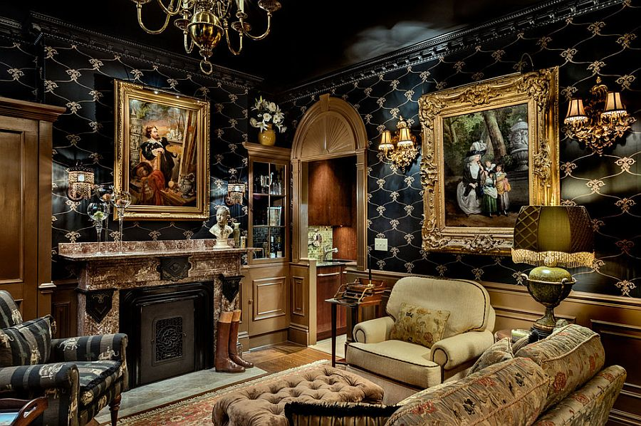 Brilliant living room with black, gold and ornate design [Design: TMS Architects]