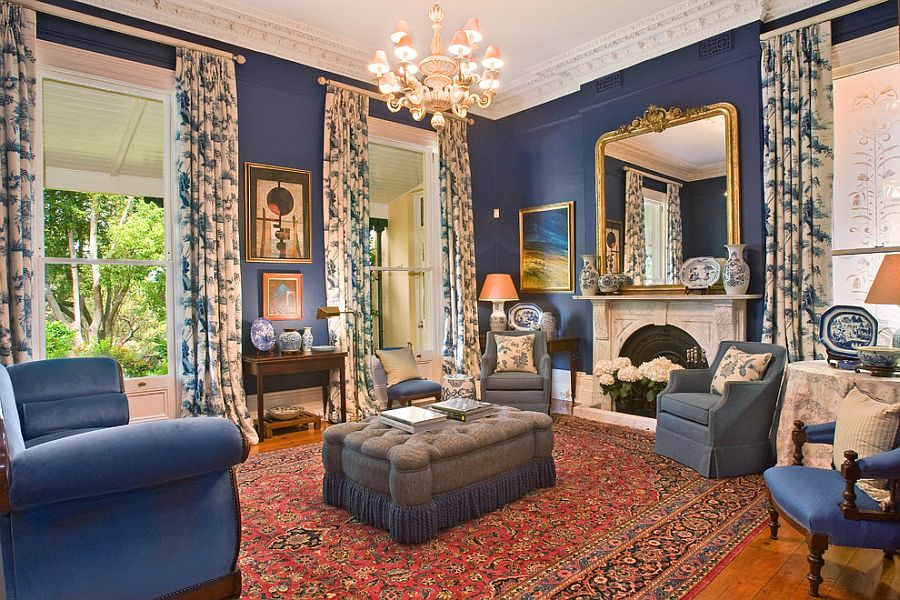 Classic Victorian living room in blue and gold [From: Ryan Lahiff Photography]