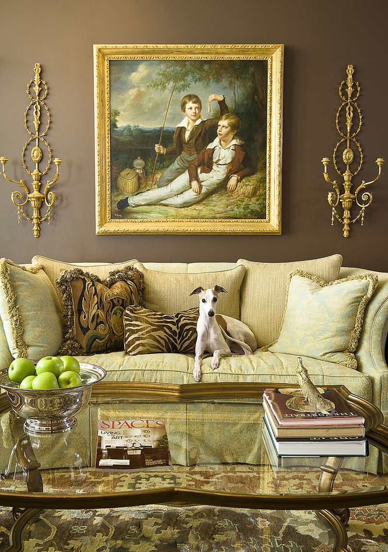 Color of the couch seems to elevate the opulence of the room [Design: McCroskey Interiors]