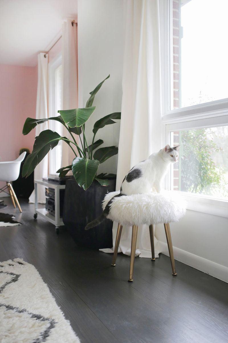 DIY furry stool from A Beautiful Mess