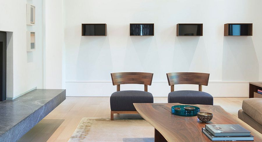Decor and accessories in the living space are kept contemporary and minimal