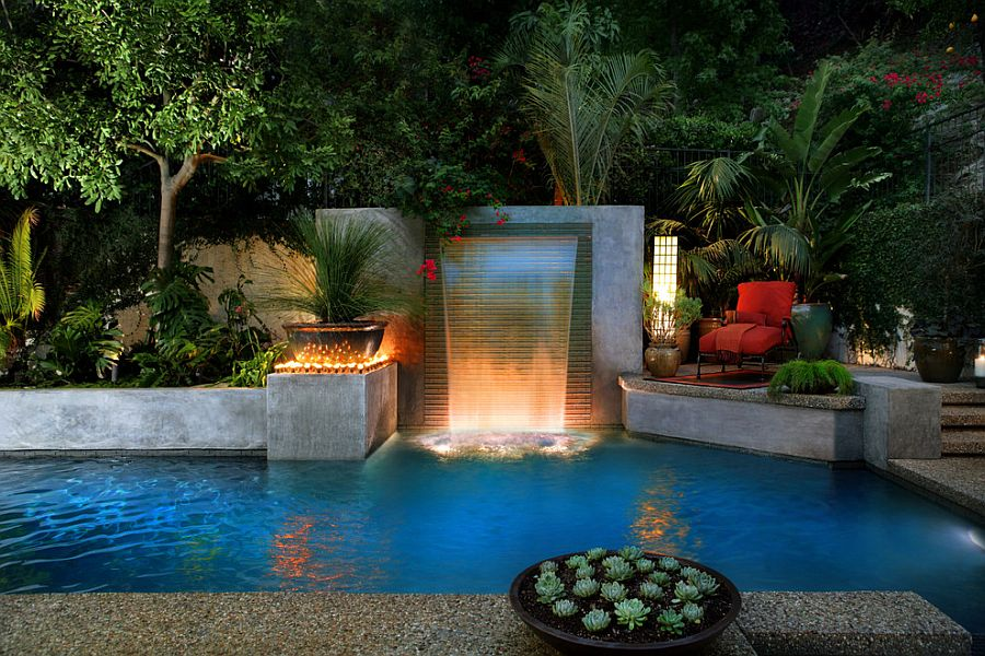Delightful backyard escape with pool, waterfalls and ample greenery