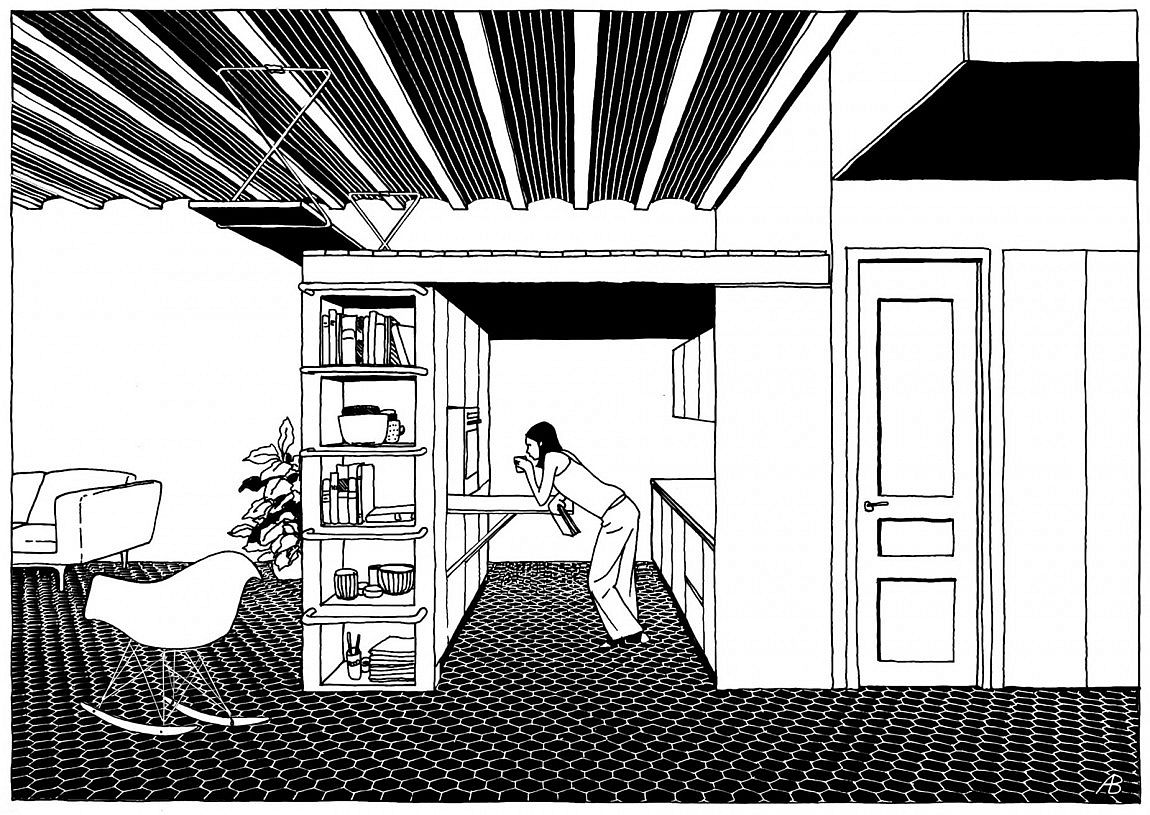 Designer's perspective of the new kitchen and study zone