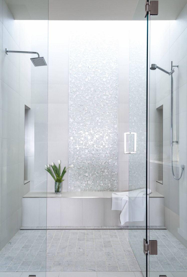 Elegant bathroom with a mosaic wall