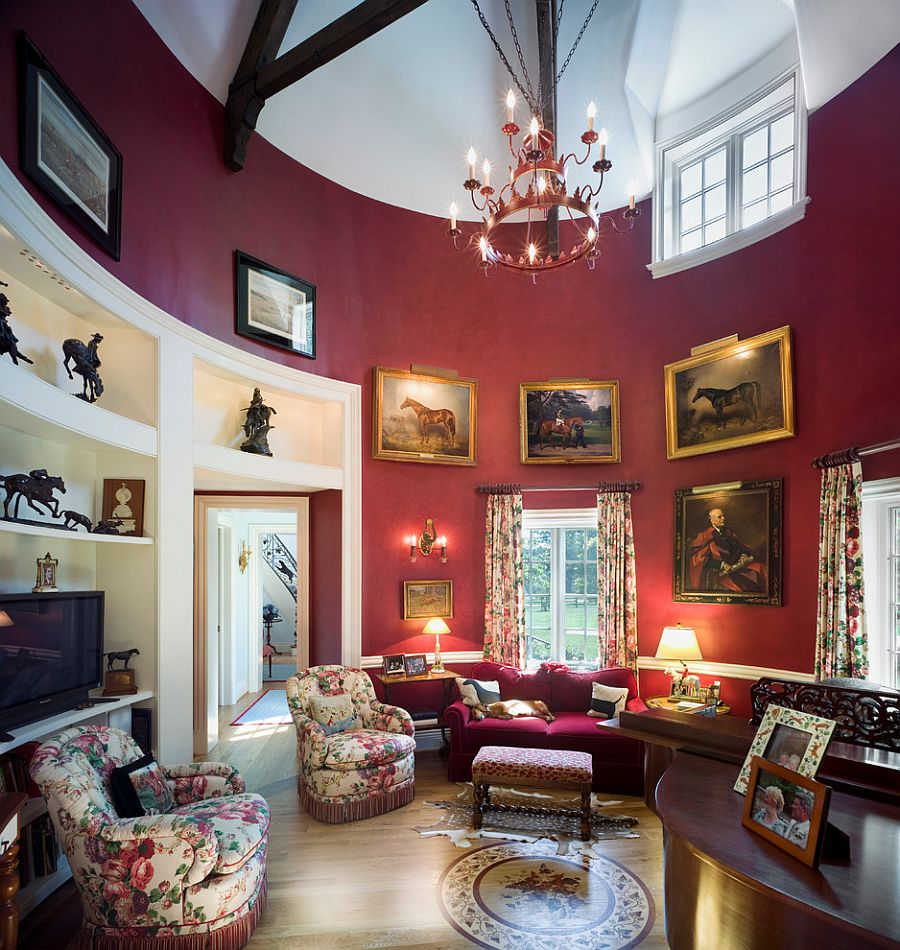 Grand Victorian living room with a splash of purple [Design: Peter Zimmerman Architects