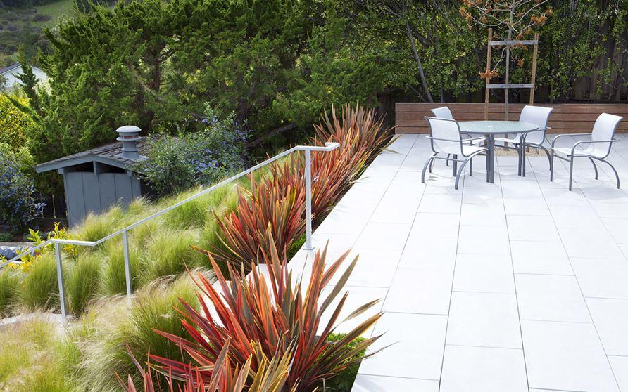 Hillside garden with native grasses