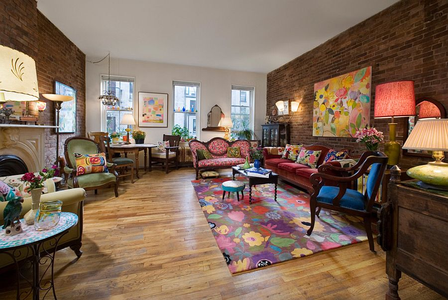 Modern Victorian living room with a colorful, eclectic touch [Design: Kim Parker Interiors]