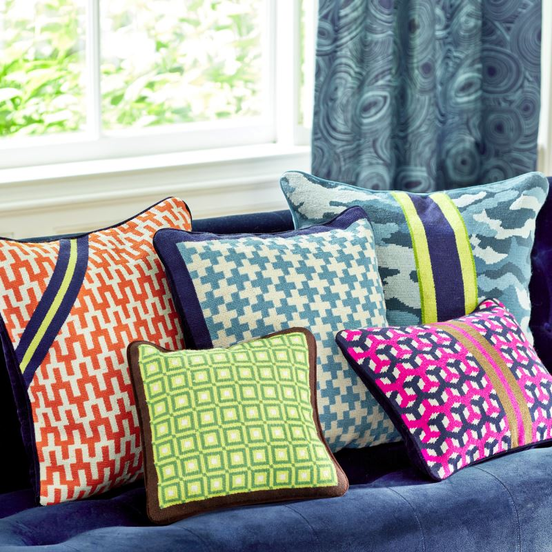 Needlepoint throw pillows from Jonathan Adler