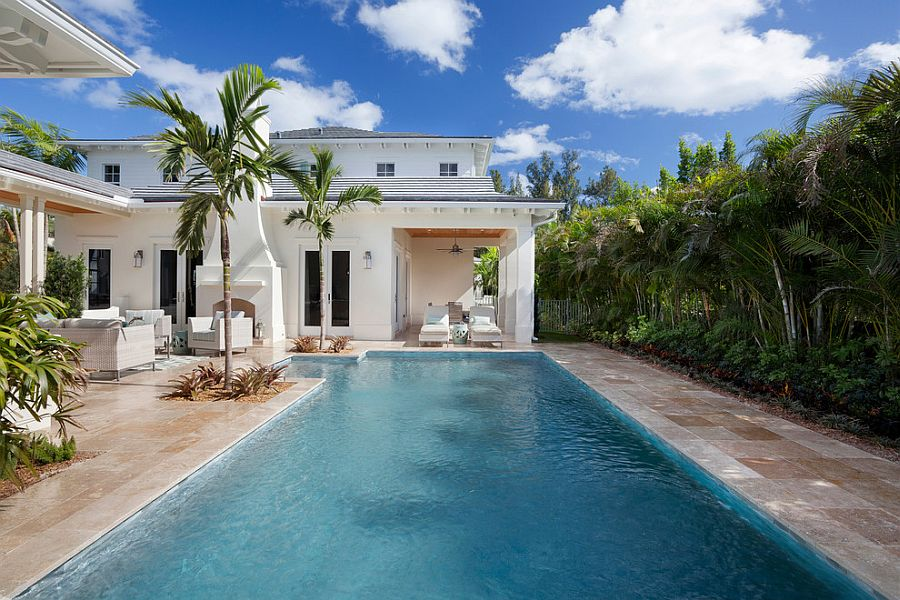 Pool deck combines tropical style with a hint of Mediterranean charm