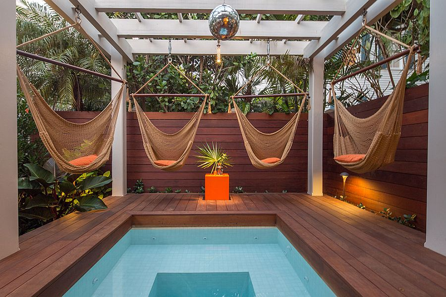 Relaxing and stylish tropical style pool deck and landscape [Design: Craig Reynolds Landscape Architecture]
