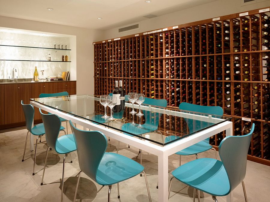 Series 7 chairs in blue create a cool wine tasting room