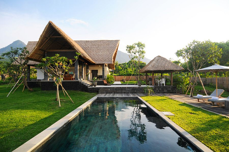 Thatched roof and poolside cabana bring an authentic tropical experience to LA home