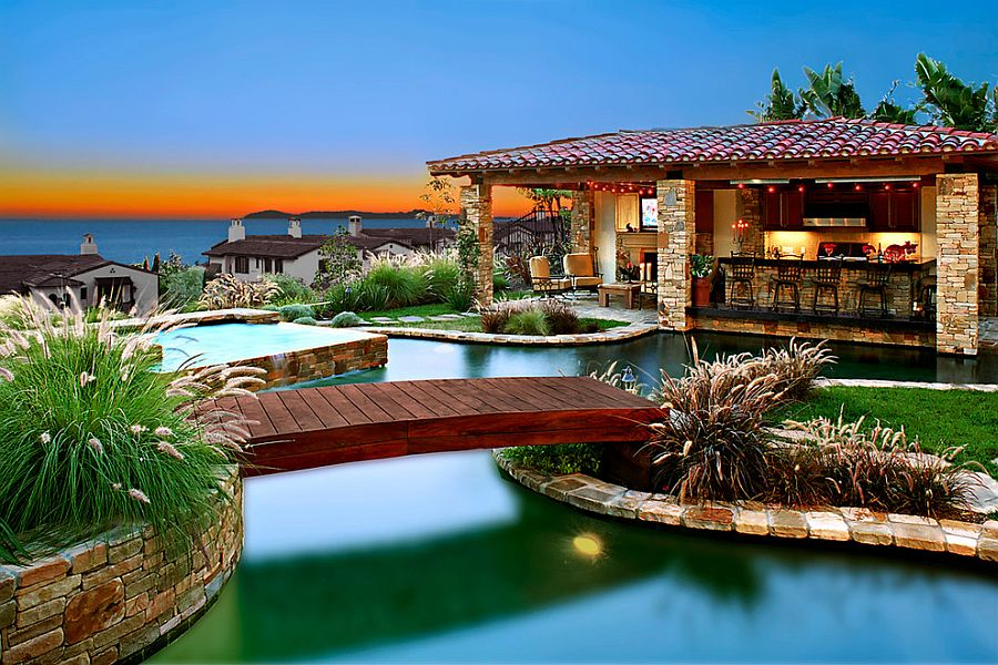 Throw in a bridge and pool house to complete that perfect, rejuvenating poolscape [Design: Rene Grivel & Associates]