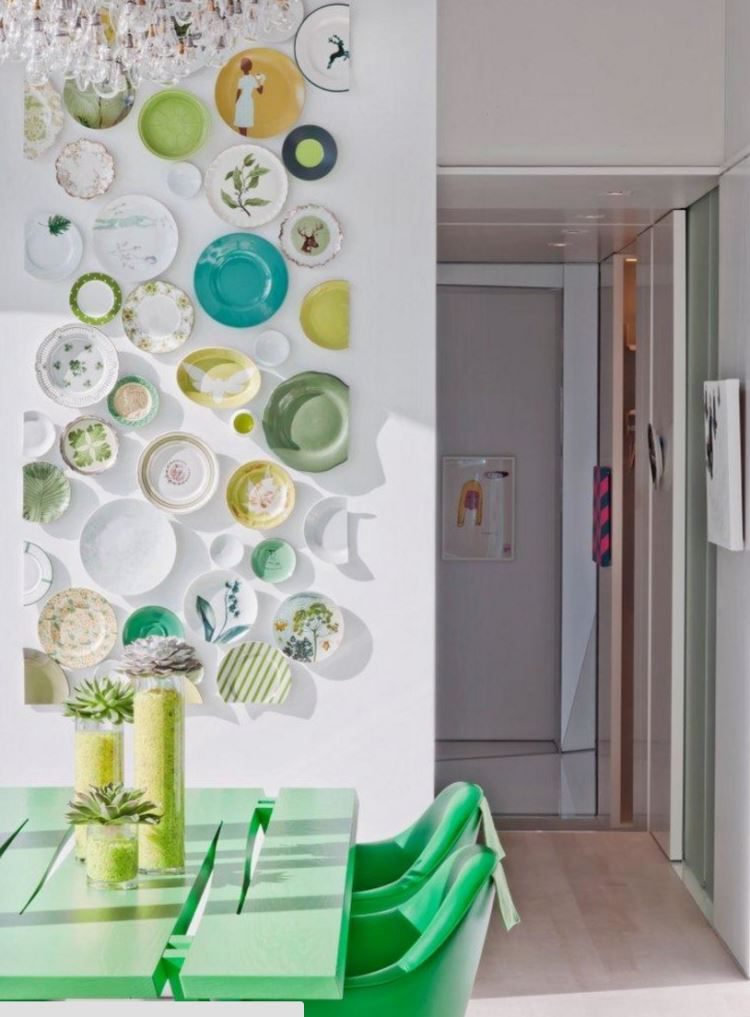 Vibrant dining room with a plate collection