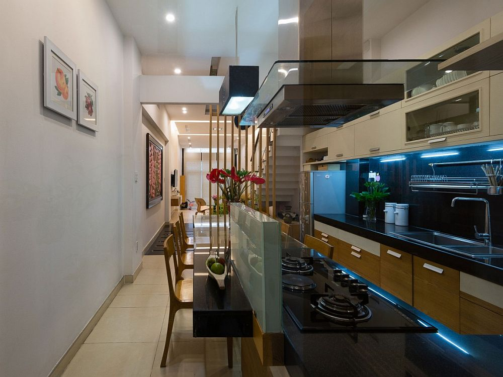 View of the kitchen, dining room and living area on the lower level