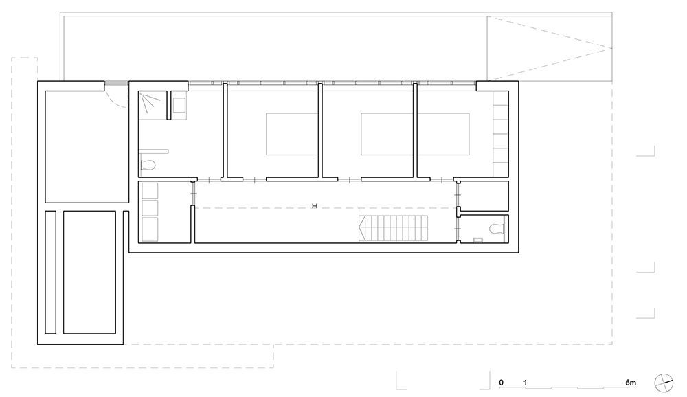 Floor plan of the lower level with bedrooms
